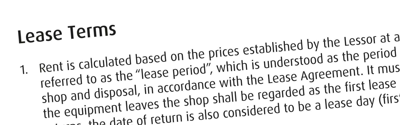 Part of text from Lease Terms