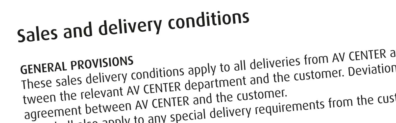 AV Sales and delivery conditions
